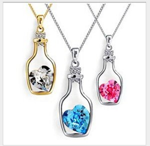 Luxury Jewelry Silver Color with Wish Bottle Inlay Love Heart Crystals Vial Pendant Necklace for Women Gift ps1601