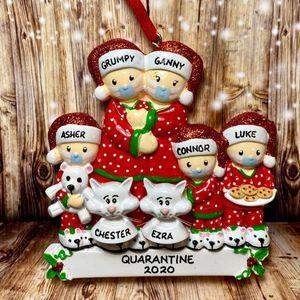 2020 Christmas Party Decoration Подарки Персонализированные Карантин Маска Pajama Семья 5 и животных Cats Xmas Tree Украшение Украшение