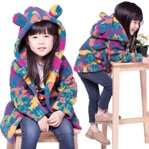 100-160cm Kids Warm Velvet Fleece Girls Winter Coat Colorful Children's Winter Jacket For Teenage Girls Boy Cute Ear Windbreaker