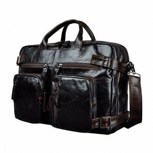 Genuine Leather Man Design Multifunction Purpose Maletas Maletin Business Briefcase 15 Laptop Bag Tote Portfolio Bag K1013 Metal Brief IMuF#