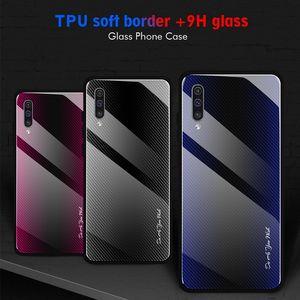 Ausgeglichenes Glas-Kasten für Samsung A81 A91 A01 A51 A71 S20 Ultra-A10S A20S A80 A70 A50 A10 A30 A21 A41 A21S Textur Carbon-Faser-Telefon-Abdeckung