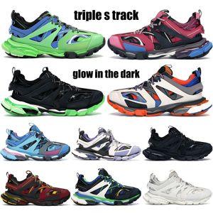 Top plate-forme triple piste paris chaussures de sport noir blanc coureur lueur bleu dans le formateur sombre femmes hommes de chaux papa formateurs