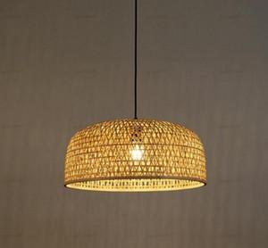 50 centímetros de bambu vime Rattan Sombra Pendant aparelho de iluminação Mão Artesanato Weaving Asian lâmpada do teto Plafon Luster Lounge Restaurant