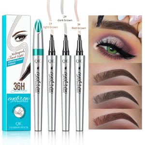 Make-up-Flüssigkeit Augenbraue-Feder 36H Augenbrauenstift Enhancer 3 Farben 4 Kopf Augenbrauenstift langlebiges Wasserdicht DHL-freies Verschiffen