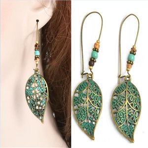 retro hollow blue leaves Earring for Women bead leaf Hollow simple Earring maxi statement fashion stud for women