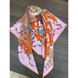 100٪ حك الحرير وشاح أزياء النساء مطبوعة ساحة شال حزب مكتب المنديل الحجاب الأغطية 90X90CM / 35x35 بوصة