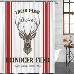 Banho Waterproof Cortina de Natal Elk Farm Red Stripes Fabric Shower Curtain Início Casa de banho Duche Decor Natal