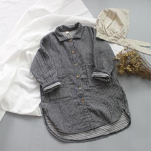 Japan Kids Girls Boys Stripes Long Shirts Linen Cotton Turn-down Collar Front Buttons Quality Little Princess Children Tops