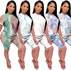 Summer Sportwear Women Tie-dyed Print Two Pieces Set Short Sleeve O-Neck Tops+Shorts Suits Print Sporty Fitness Outfits 200919