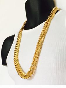 Erkek Miami Küba Bağlantı frenlemek Zinciri 14 k Gerçek Sarı Solid Gold GF Hip Hop 11mm kalınlığında Zinciri JayZ Epacket ÜCRETSİZ GÖNDERİM