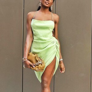 Sexy Beach Dress Women New Fashion Backless Sleeveless Asymmetrical Vestidos Green White Ruched Split Clubwear Party Dresses