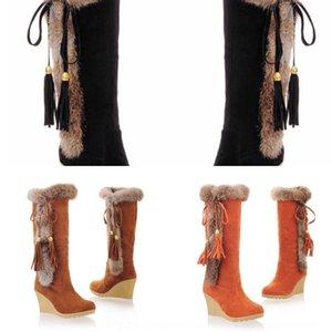 Automne chaud neige et l'hiver Nouveau givré épaissies tube central bottes lapin chaud de fourrure intégrée bottes de neige de fourrure pour les femmes 6GLak