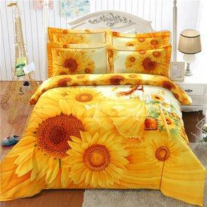3D Sunflower 100% Cotton Art Golden painting 4pcs King home Bedding set Duvet Cover Set