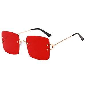 Солнцезащитные очки Fashion Square Большой объектив Женщины Безрамные Океан Зеркальные Очки Мужчины Все-Матч Классический коричневый UV400 Gafas Sol