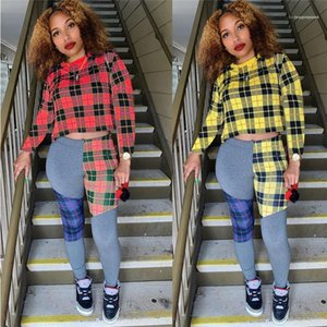 Clothing Plaid Panelled Womens Designer Tracksuits Fashion Long Sleeve Pencil Pants Womens 2PCS Sets Casual Females