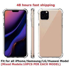48 Horas Ship transparentes casos de teléfono Claro prueba de golpes suaves para el iPhone 11 12 Pro max 6 7 8 6S Plus X XS Samsung Nota 20 S20 Ultra Huawei P40