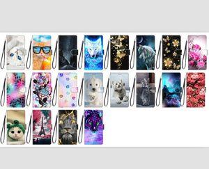 3D Cartoon-Blumen-Mappen-Leder-Kasten für Iphone 12 LG K31 K51S K41S K61 Velvet ZTE Axon 11 SE 5G Hund Katze Strap-Karte Tiger-Standplatz-Telefon-Abdeckung