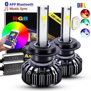 H4 H7 LED Car Headlight Bulbs COB RGB LED Headlight H1 H3 H11 H13 880 9005 9006 9012 APP Bluetooth Control Multi-color 25W