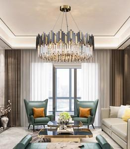 Postmodern minimalist stainless steel living room led crystal chandelier dining room bedroom pendant lights  creative pendant lamps