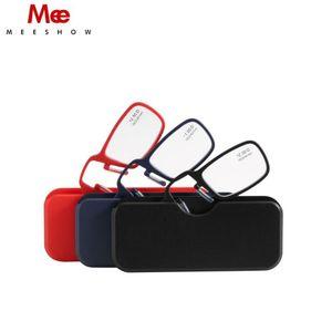 New Reading Leve Mini Nose Clip On Resin Lens óculos de leitura TR90 Poder +1.0 +3.5 portátil Carteira Reader Com o Caso 1575