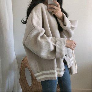 CBAFU caliente del invierno del otoño suelta suéter de punto chaquetas de punto único cálida época suéter capa de pecho elegante ropa exterior P296 de manga larga
