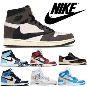 AIRE Piel de serpienteJordánRetro zapatillas de baloncesto 1 offwhites zapatos Travis Scotts AJ 1 Obsidiana UNC para hombre Turbo Verde 1s Chicago prohibidos
