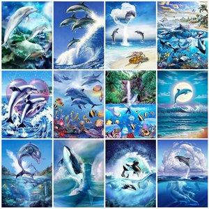 Evershine Praça Full / Broca Rodada 5D DIY diamante Pintura Animais diamante bordado Dolphin Rhinestone Mosaic Crafts Kit