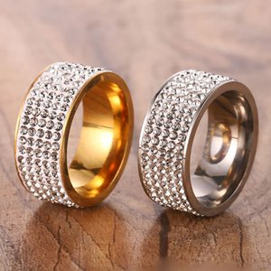5 Rows Stainless Steel Diamond Crystal Rings Gold Ring Finger Rings Couple Ring for Women Men Wedding Rings Jewelry