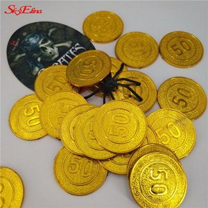 50 100pcs Pirate Party Treasure Game Play Money Props Gold Coins Coins Halloween Christmas Games Decorations For The New Year 6Z WaR6#