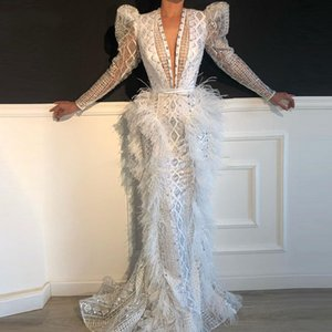 White Shiny Beading White Prom Dress robe de soiree Long Sleeve Evening Dresses Celebrity Dresses WeddingParty Dress