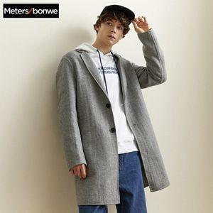 Metersbonwe Marca Men Hairy Coats Outono Inverno Nova Sólidos de moda cores de alta qualidade Coats Mens Wool