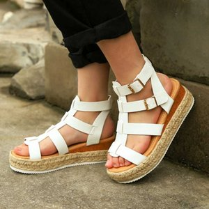 Summer Women Shoes Beach Sandals Ladies Fashion Roma Flat heel Solid Peep Toe Sandals Casual Shoes Sandales Size 35- 43