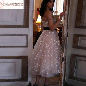 Sparkly Prom Dresses with Straps Star Lace Tea-length Prom Dress Fashion Evening Dress Zipper Up Back robes de cocktail