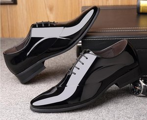 Patent leather Men business dress shoes lace-up casual shoes oxfords British Formal leather shoes Sapato Social Masculino