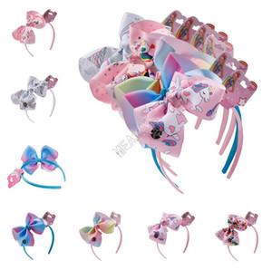 Clipe 6Inch dos desenhos animados cabelo Unicorn Halloween fita colorida Arcos Barrettes bowknot Crianças Hairpin INS arco-íris Headband Crianças Cabelo Headress D9702
