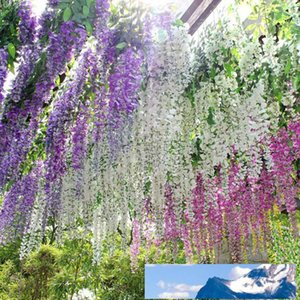 Eco-Friendly 110cm Wisteria Wedding Decor 5 colors Artificial Decorative Flowers Garlands for Party Wedding Home For Free Shipping