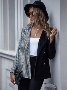 Outerwear Coats Suit coat woman autumn winter check two color cardigan button button button LAPEL SUIT