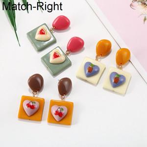 Match-droite en acrylique Coeur Boucles d'oreilles mignonnes pour les femmes Brincos Maxi Big coréenne Dangle Boucles d'oreilles Pendentif Femme Bijoux SP881