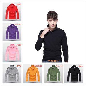 polo gömlekleri ile erkekler sonbahar gençlik trendin uzun kollu ve düz renk iş basit Ceketi yakasız Fransız marka polos erkek polo gömlekleri