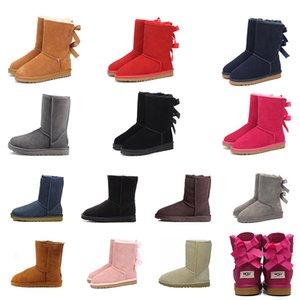 Stivali da neve 2020 Nuovi arrivi scarpe da donna moda classica stivaletti alla caviglia con fiocco corto triplo stivaletti in pelliccia rossa nera Sneakers castagna