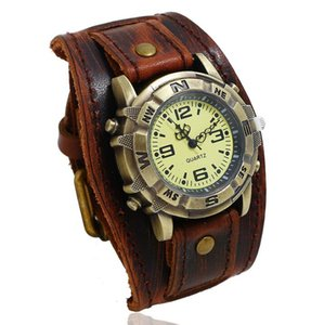 Hip Hop Punk Cowhide leather Quartz Watch bracelet Men Wristwatch Electronic Watches Retro Gift