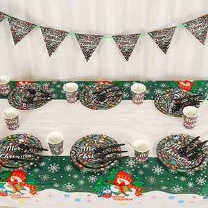 72pcs lot Merry Christmas Party Decoration Disposable Tableware Napkin Paper Cup Plate Straws New Year Decoration Christmas Party Supplies