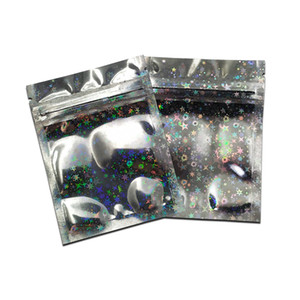 100pcs lot Star Laser Zip Lock Aluminum Foil Packing Bags Vacuum Food Storage Bags Glossy Surface Top Zipper Mylar Bags for Nuts Candy