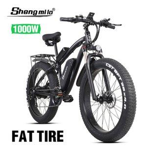 Produto oficial ShengMilo-MX02 26 polegadas ATV elétrica ATV Snowmobile Assistida Mountain Bike 1000W Bafang motor elétrico Bicicleta única bateria