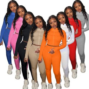 womens sportswear long sleeve shirt legging 2 piece set outfits jacket pants tracksuit bodycon sportsuit klw5035