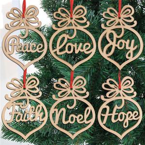 Noël lettre bois de coeur modèle de bulle Ornement arbre de Noël Décorations Accueil Fête Décorations Hanging cadeaux, 6 pc par sac FY7173