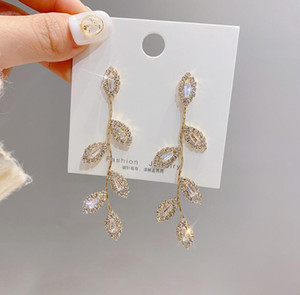Gold Plated Leaves Earring Delicate Micro Inlaid Cubic Zircon CZ Stud Earrings Wedding Jewelry Pendant