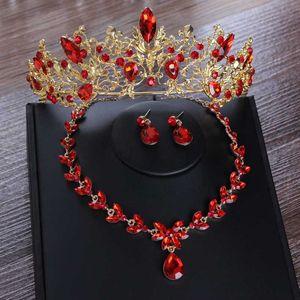 Barroco do ouro Vintage nupcial de cristal vermelho Conjunto de Jóias Colar Brincos casamento Africano Beads Rhinestone Tiaras Crown Set Jóias