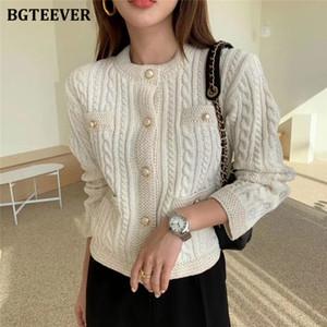 BGTEEVER elegante o Las mujeres con cuello de punto rebecas de un solo pecho delgado trenzado suéter femenino 2020 Otoño O-cuello Outwear Tops Y200910