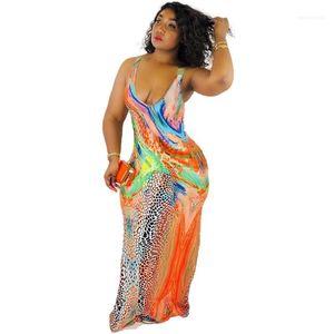 Contrasto vestiti delle donne di colore del progettista maxi vestito Moda scollo senza maniche stampa del leopardo Abito femminile estate